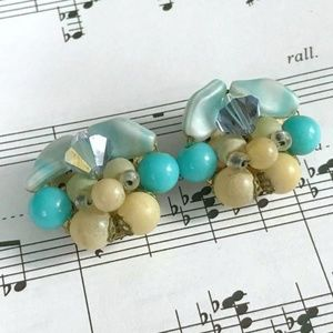 BLUE AND YELLOW BEADED AND CRYSTAL CLIP-ON EARRING